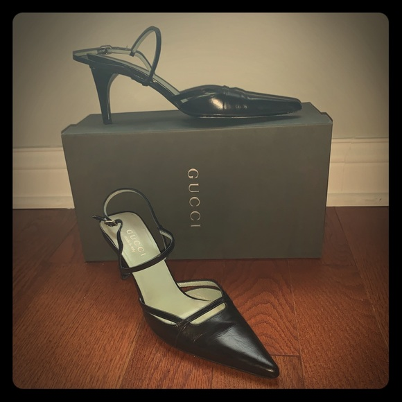 c8bb80f9a Gucci Shoes | Sale Black Leather Ankle Strap Heels Size 8 | Poshmark
